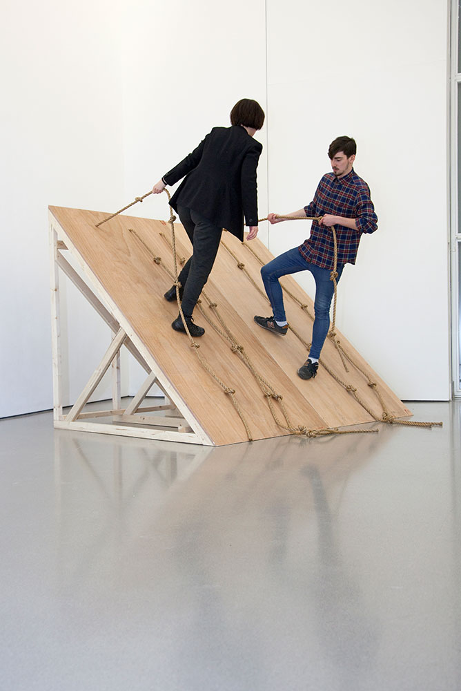 Performance of Simone Forti's 'Slant Board' (2014) inside the Henry Moore Institute (2)