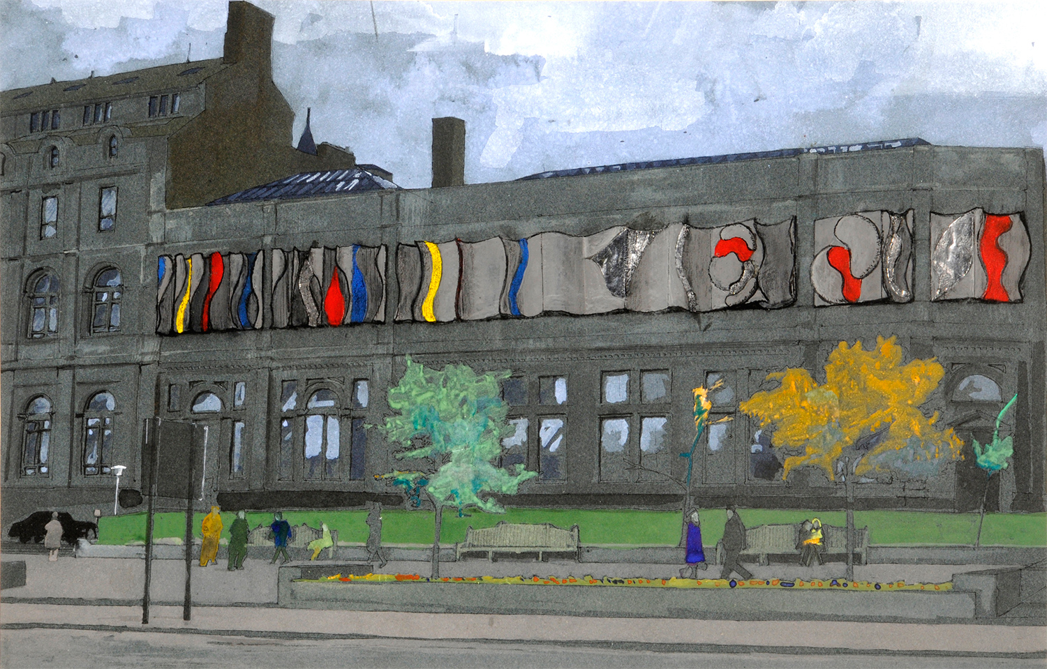 Neville Boden, 'Artist's Impression of Leeds City Art Gallery' (1968, gouache and metal foil on paper)