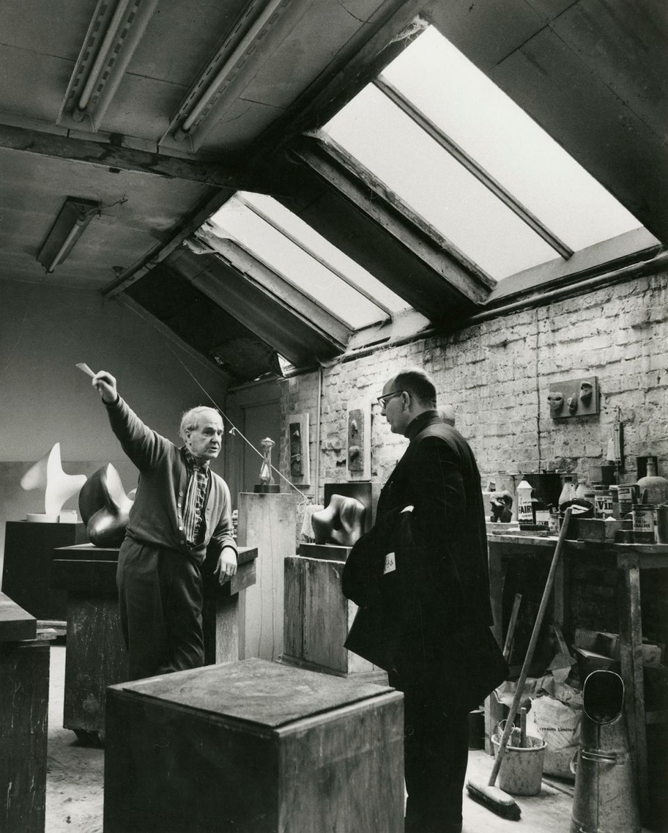 Hermann Noack, on a visit to Perry Green, in the Top Studio with Henry Moore, c. 1967