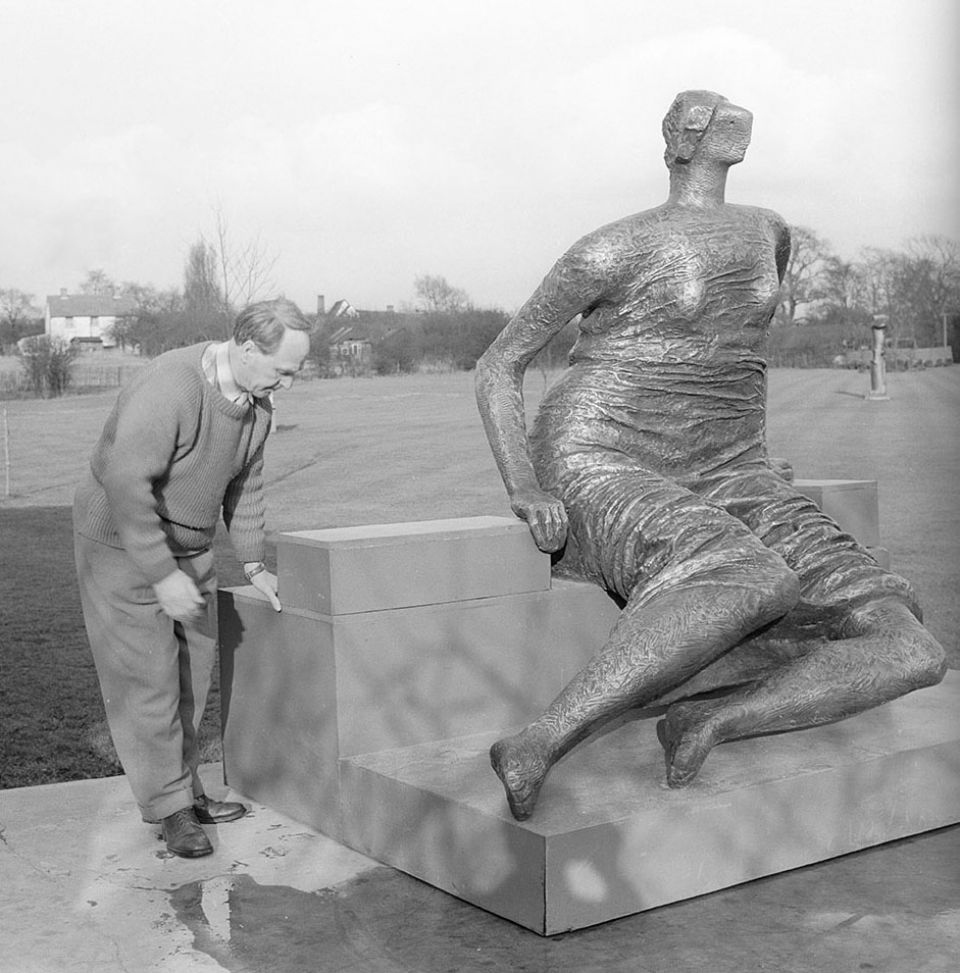 Henry Moore and Draped Seated Woman at Perry Green c.1957