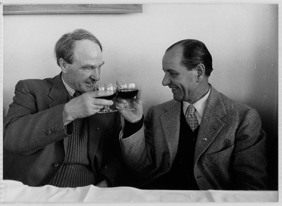 Henry Moore toasting with a drink in Querceta, Italy c.1958