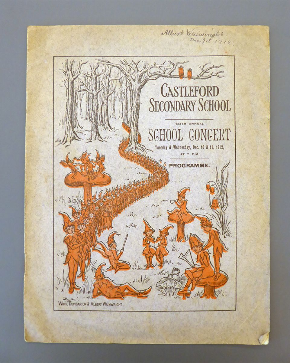 The programme cover for Castleford Secondary School Concert, 10 & 11 December 1912
