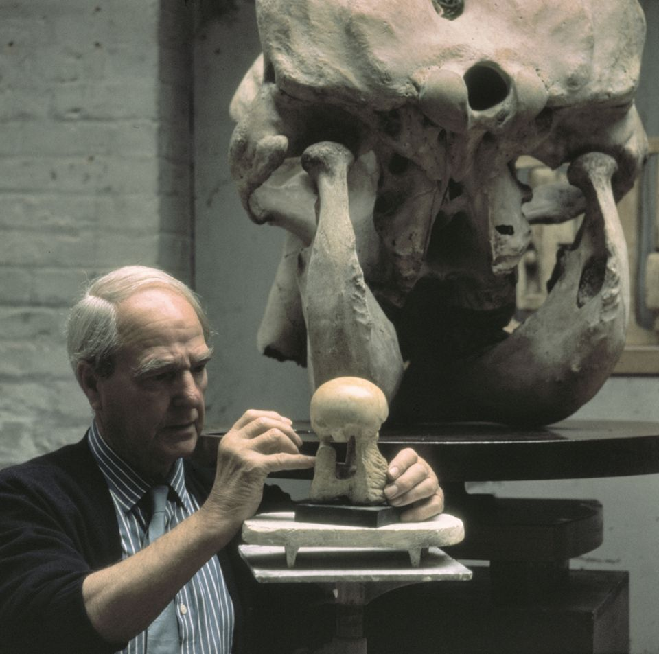 Henry Moore working on Maquette for Atom Piece (LH 524)