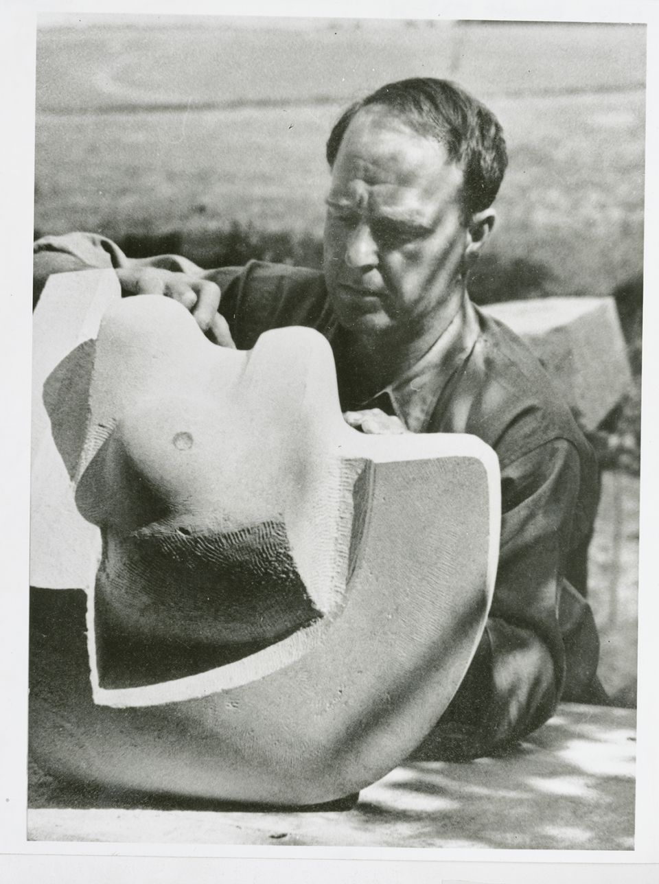 Henry Moore carving Sculpture 1937 at Burcroft, Kent