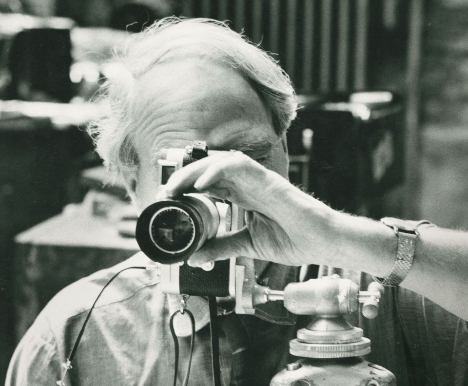 Henry Moore with his camera, 1971