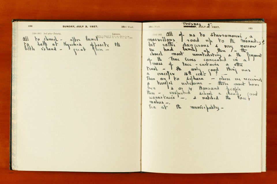 Pages from Rupert Gunnis' Diary, 1927