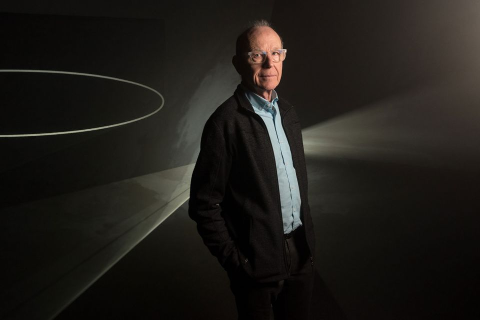 Artist Anthony McCall in his exhibition at The Hepworth Wakefield