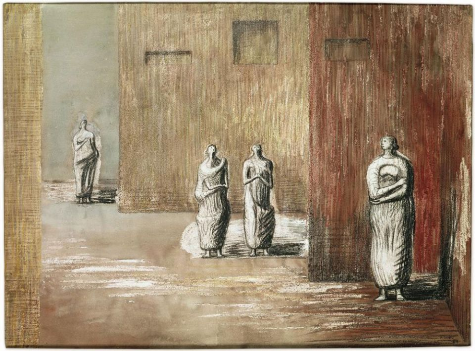 Henry Moore, Four Figures in a Setting, 1948, drawing (HMF 2485)