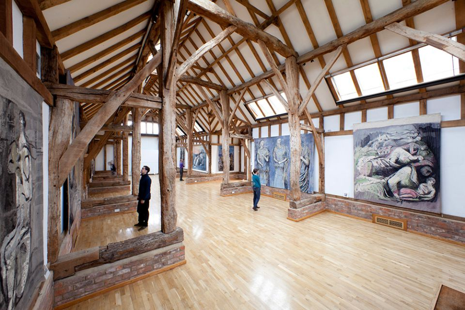The Aisled Barn with Henry Moore's tapestries