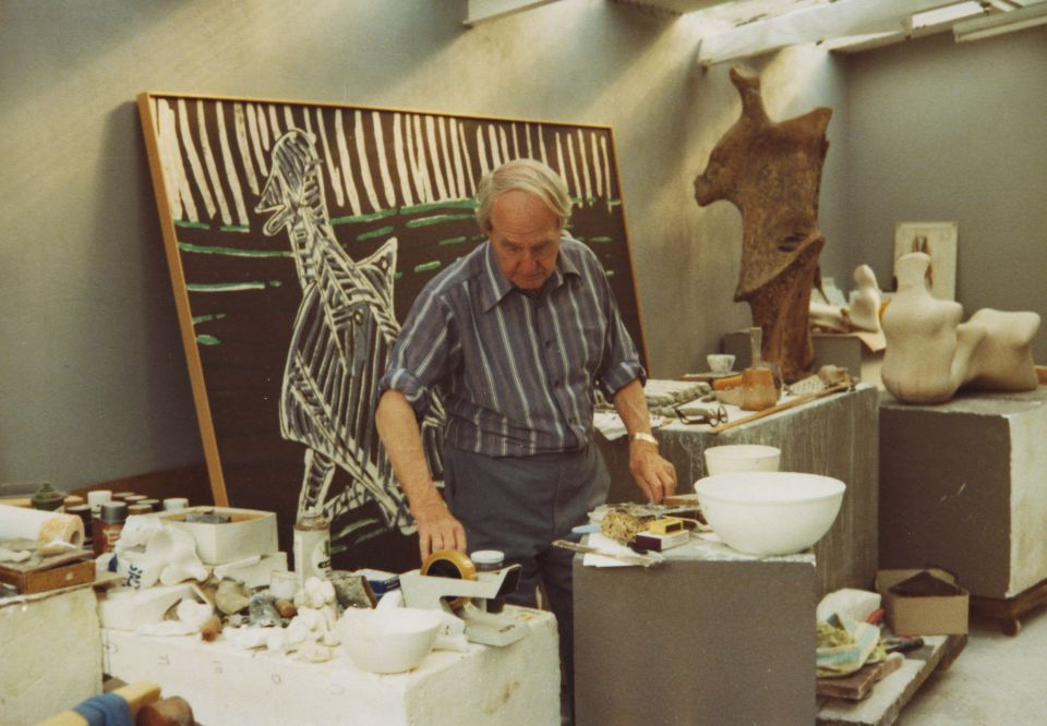 Henry Moore in the Yellow Brick Studio