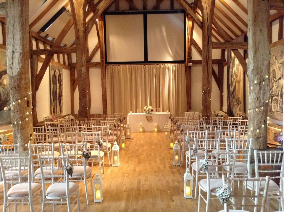 An evening ceremony set up with ghost chairs
