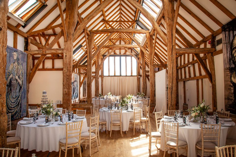 Aisled Barn set up for a reception