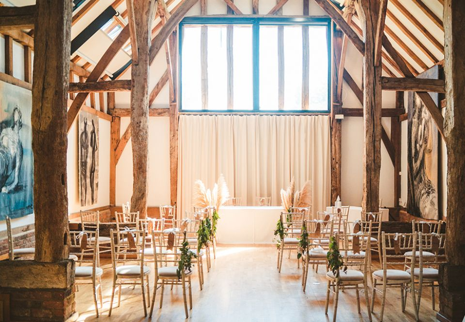 The Aisled Barn set up for a small ceremony in 2020