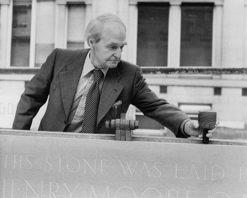Henry Moore laying the foundation stone outside Leeds City Art Gallery on 10 April 1980
