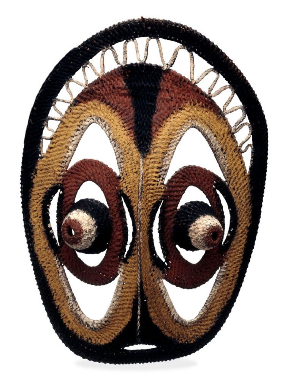 Yam mask made of wapi bush fibre, decorated with pigment