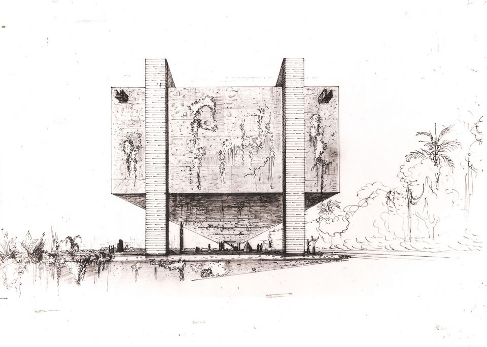 Lina Bo Bardi, 'MASP Studies: Perspective' (chinese ink, graphite, collage on paper)