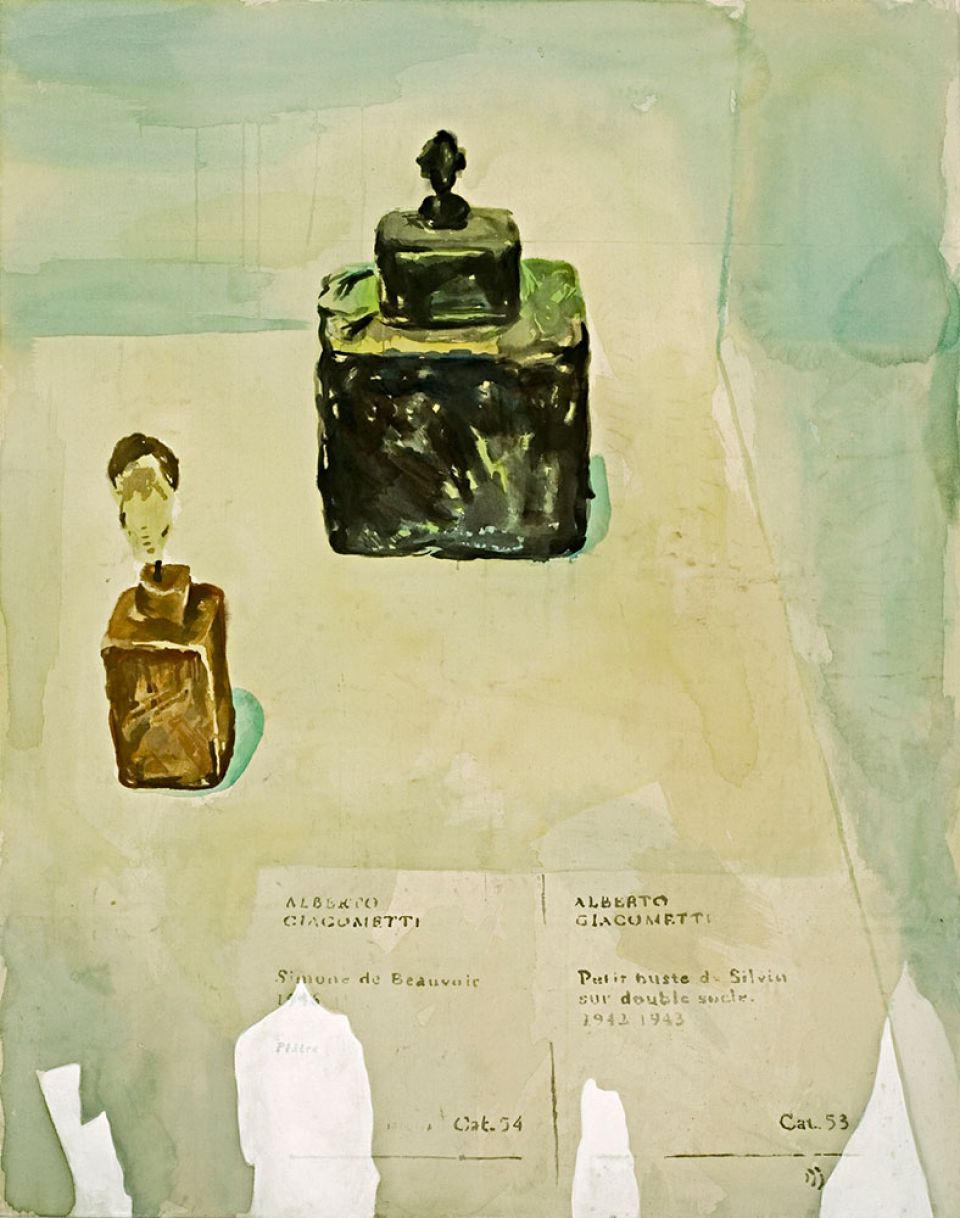 Tim Braden, 'Looking at Sculpture' (2006, watercolour on unprinted canvas)