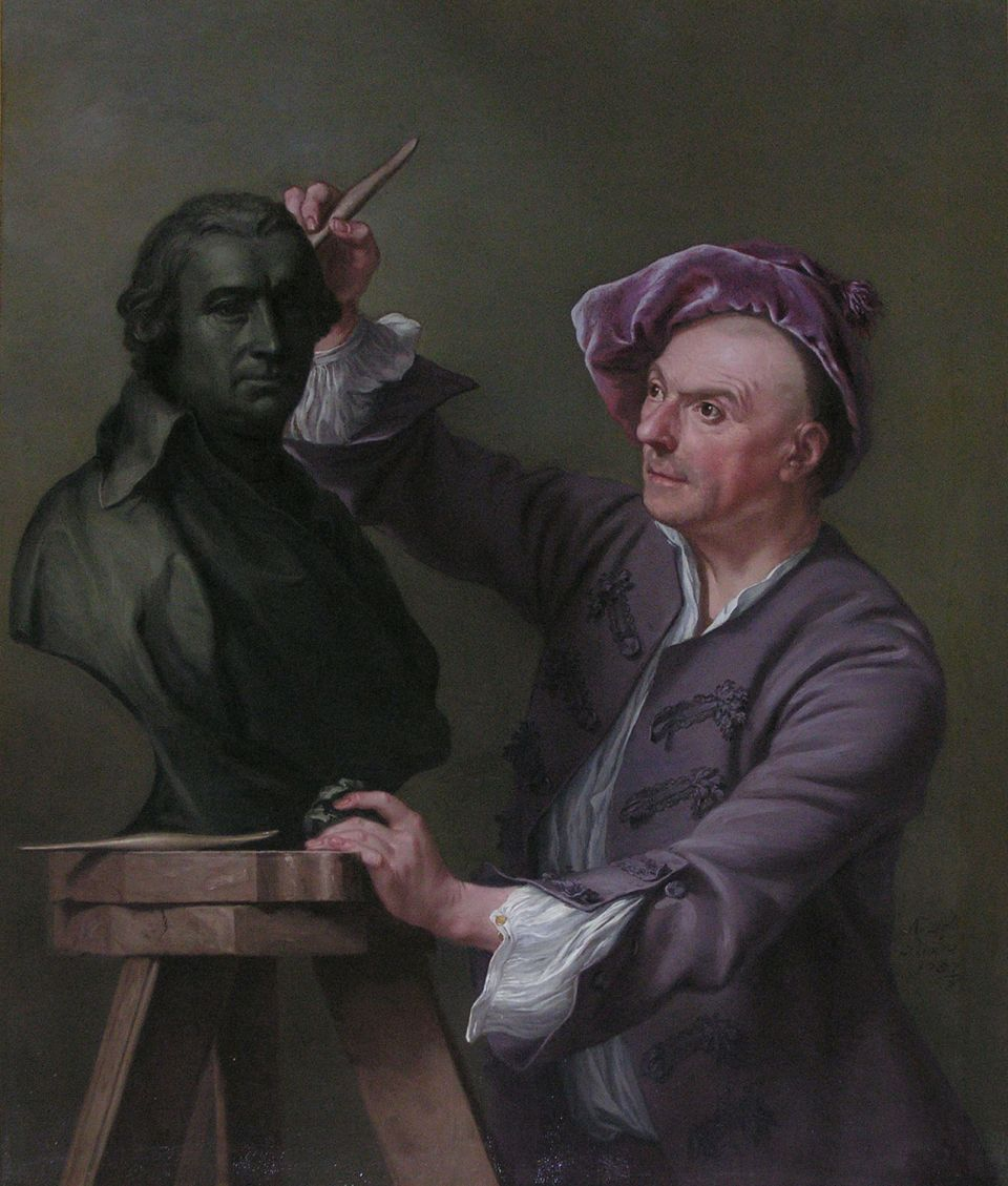 Andrea Soldi, 'Louis François Roubiliac at work on a bust of David Garrick' (1757, oil on canvas)