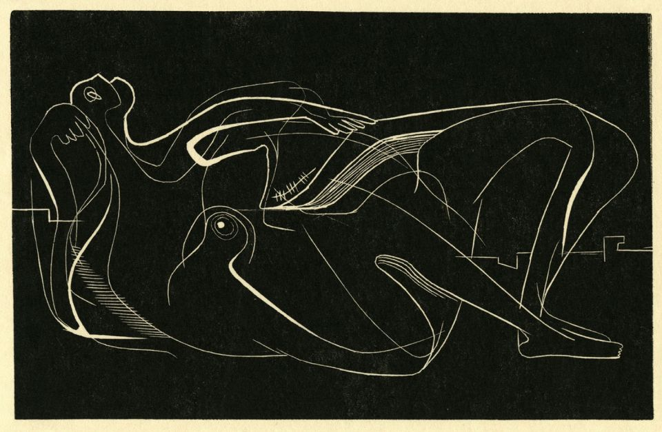 Henry Moore, 'Reclining Nude' (CGM 2) (1931, woodblock)