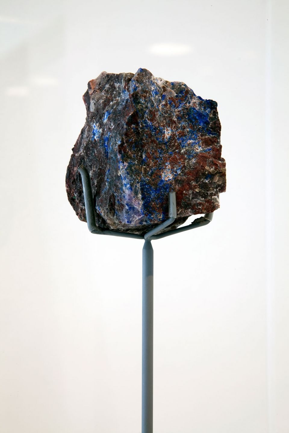 Unidentified blue mineral amongst further blue 'wesslesite', currently undergoing the process of naming