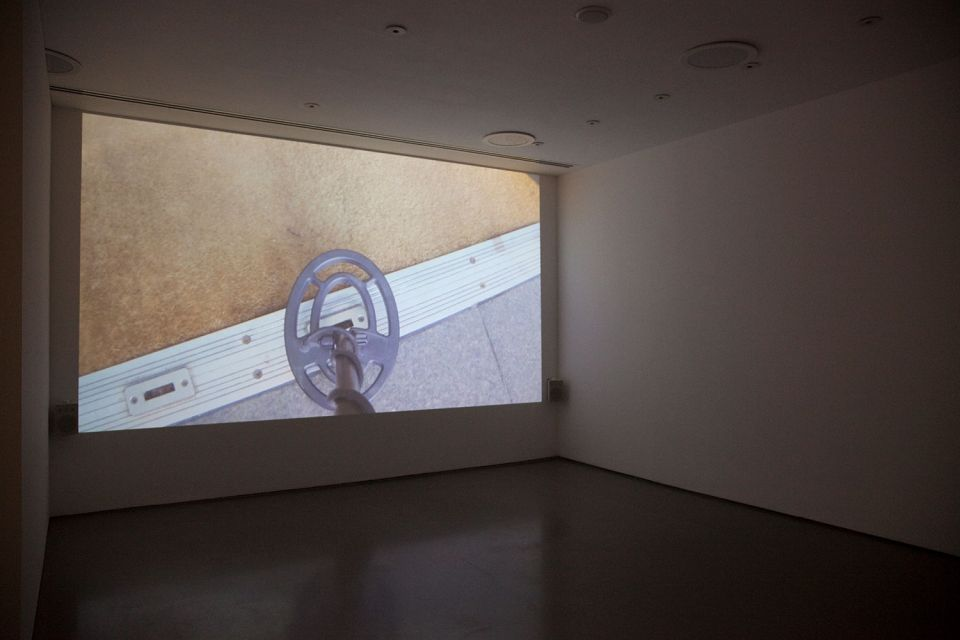 Installation view of Gallery 3, showing Ceal Floyer's 'Silent Movie' (2014, video file with sound, speakers, projector. Duration: 3 minutes)