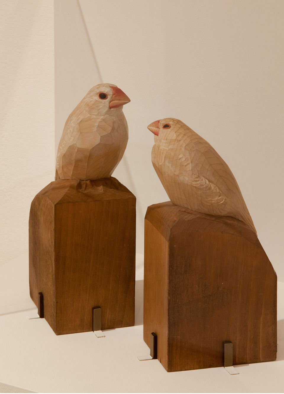 Installation view of A Study of Modern Japanese Sculpture, showing Kotaro Takamura's 'A Couple of White Paddy-Birds' (c.1931, painted wood)