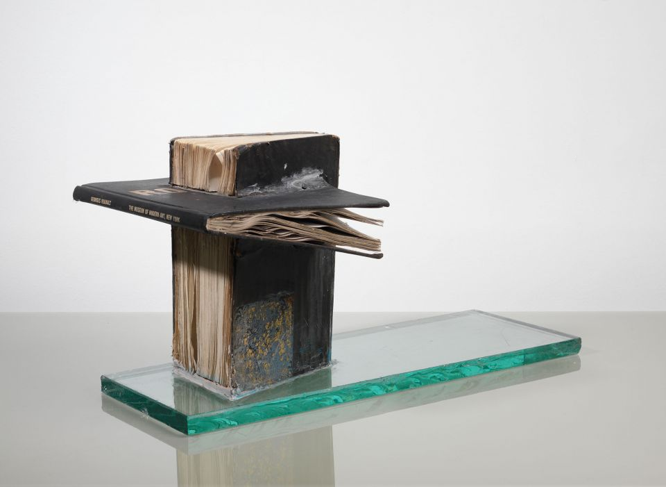 John Latham, 'Study for a Bing Monument' (1976, two books, glass)