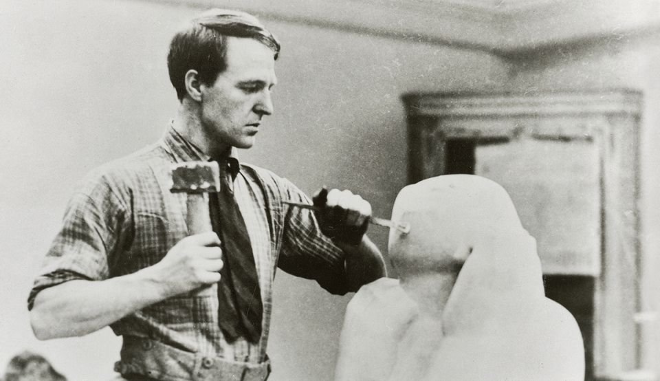 Henry Moore carving at 3 Grove Studios, Hammersmith. 1928