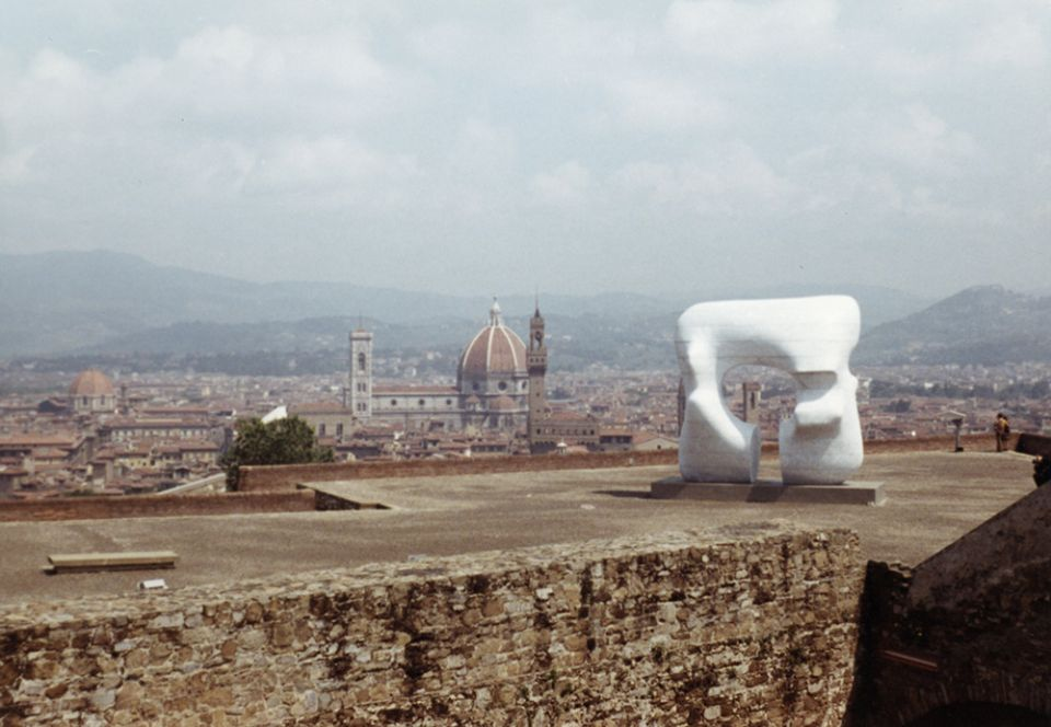 Henry Moore, 'Large Square Form with Cut' at the Forte di Belvedere, Florence 1972