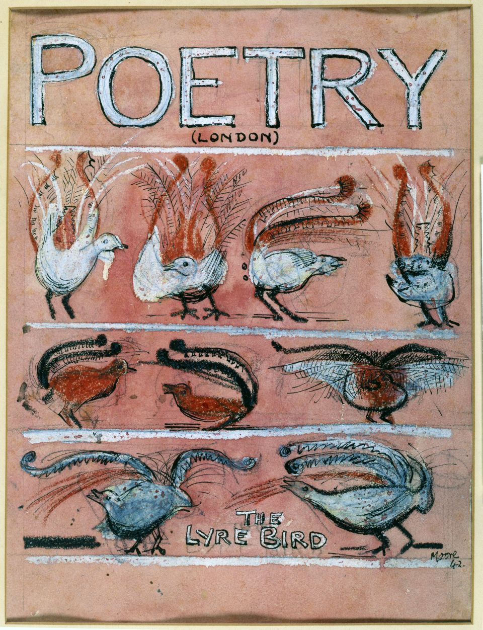 Henry Moore, 'The Lyre Bird: Cover Design for Poetry' 1942