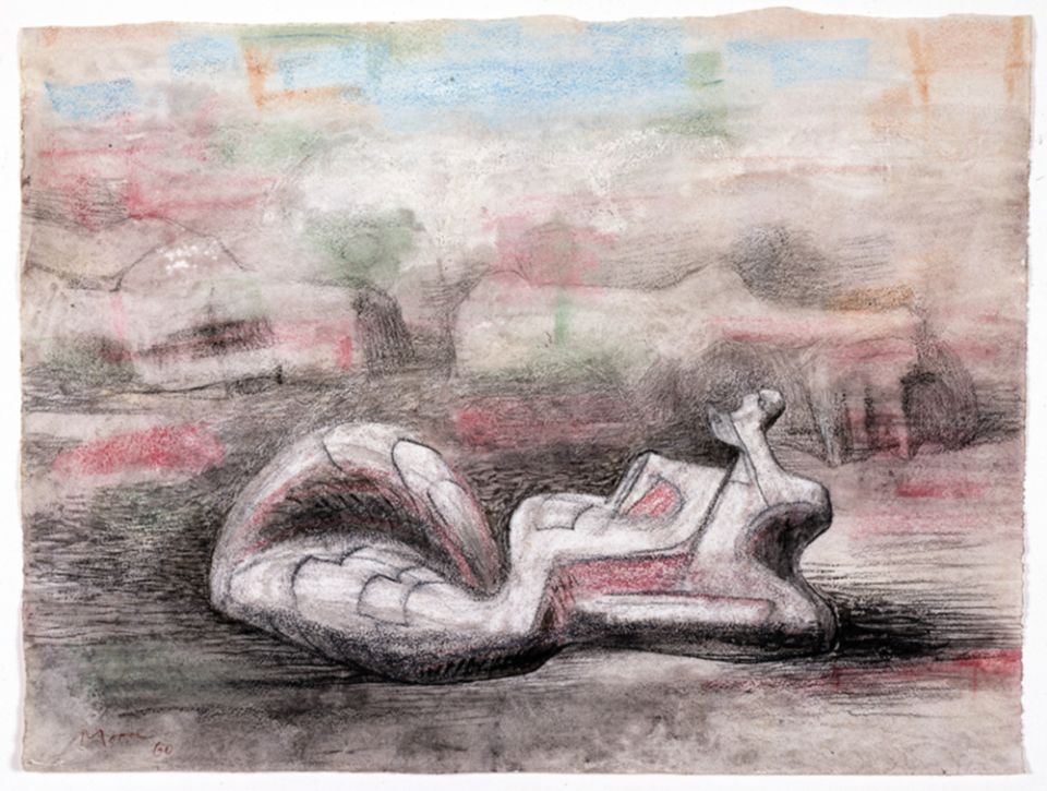 Henry Moore, 'Reclining Figure in Landscape with Rocks' 1960