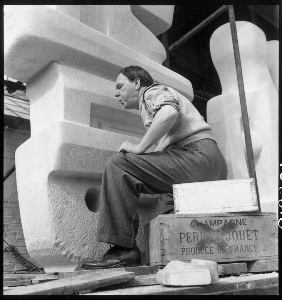 Henry Moore working on a section of the 'Time/Life Screen' 1952-53