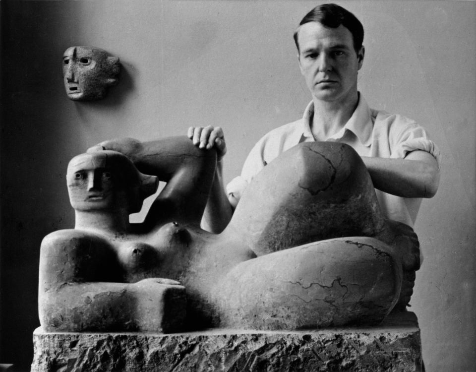 1929-30 Close Encounters The Sculptor's studio in the Age of the Camera Henry Moore with Reclining Figure and Mask