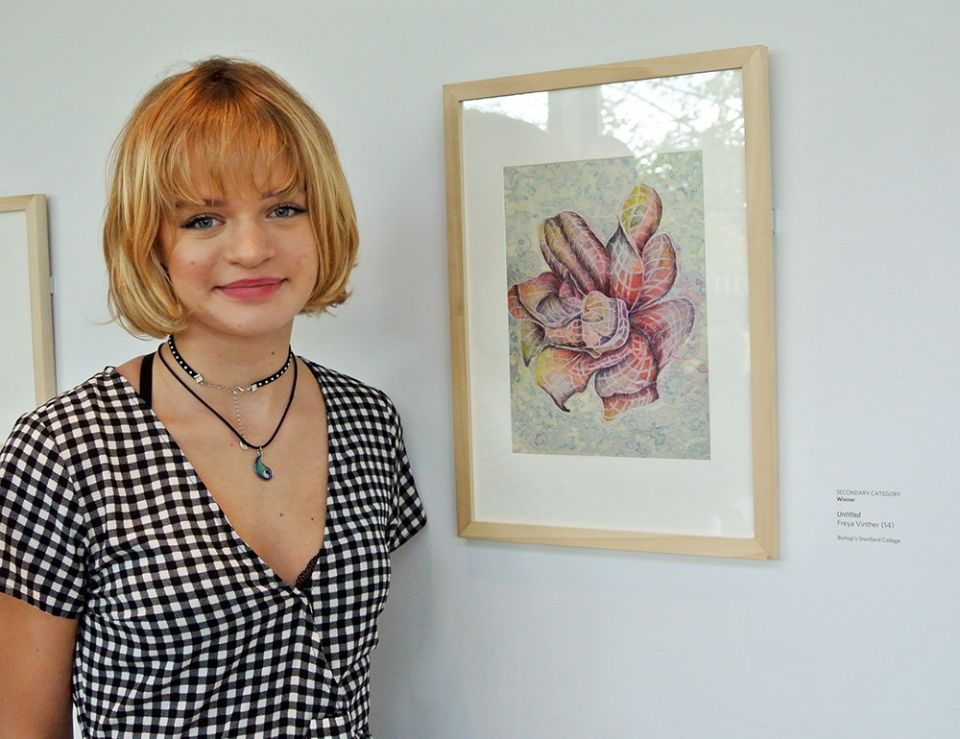 Freya Vinther with her winning entry in the Secondary Category