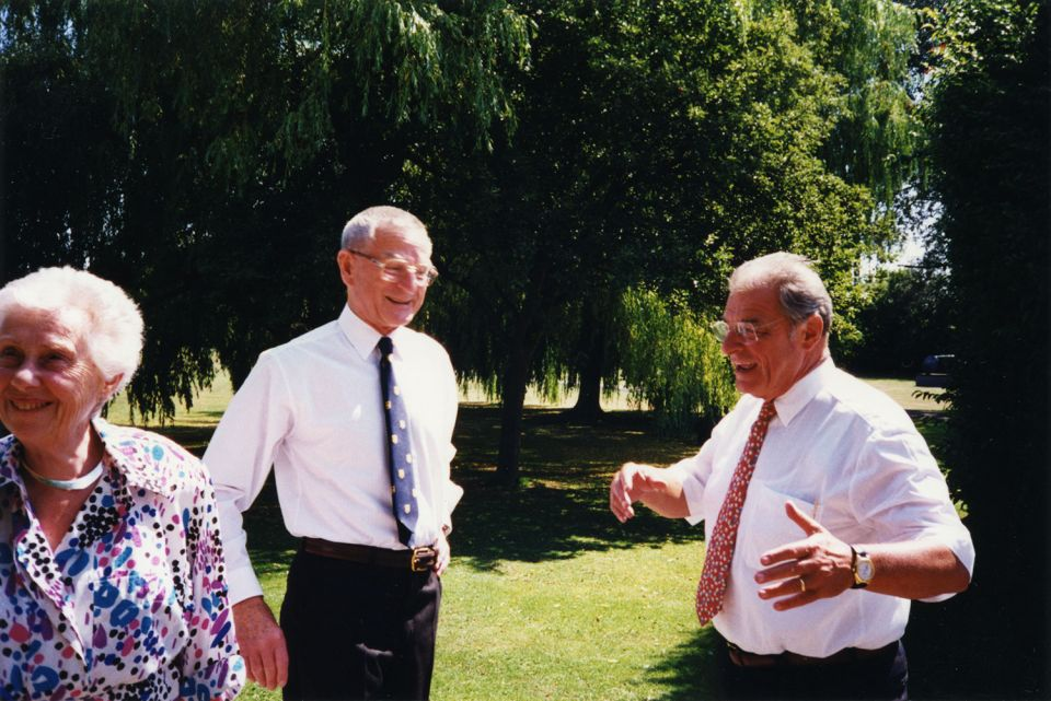 Sir Rex Richards (centre) and Jean-Pascal Delamuraz, President of Switzerland, in the grounds at Perry Green, 1996