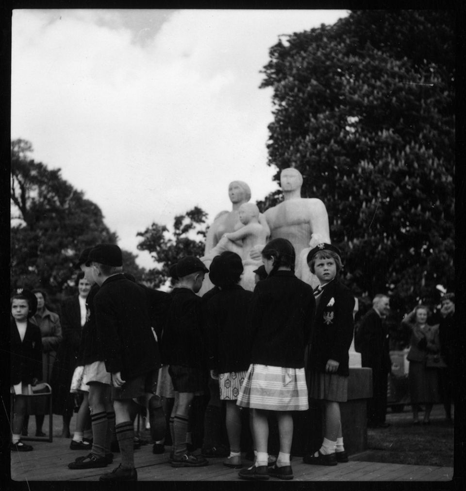 Children at the unveiling of 'Harlow Family Group' in May 1956