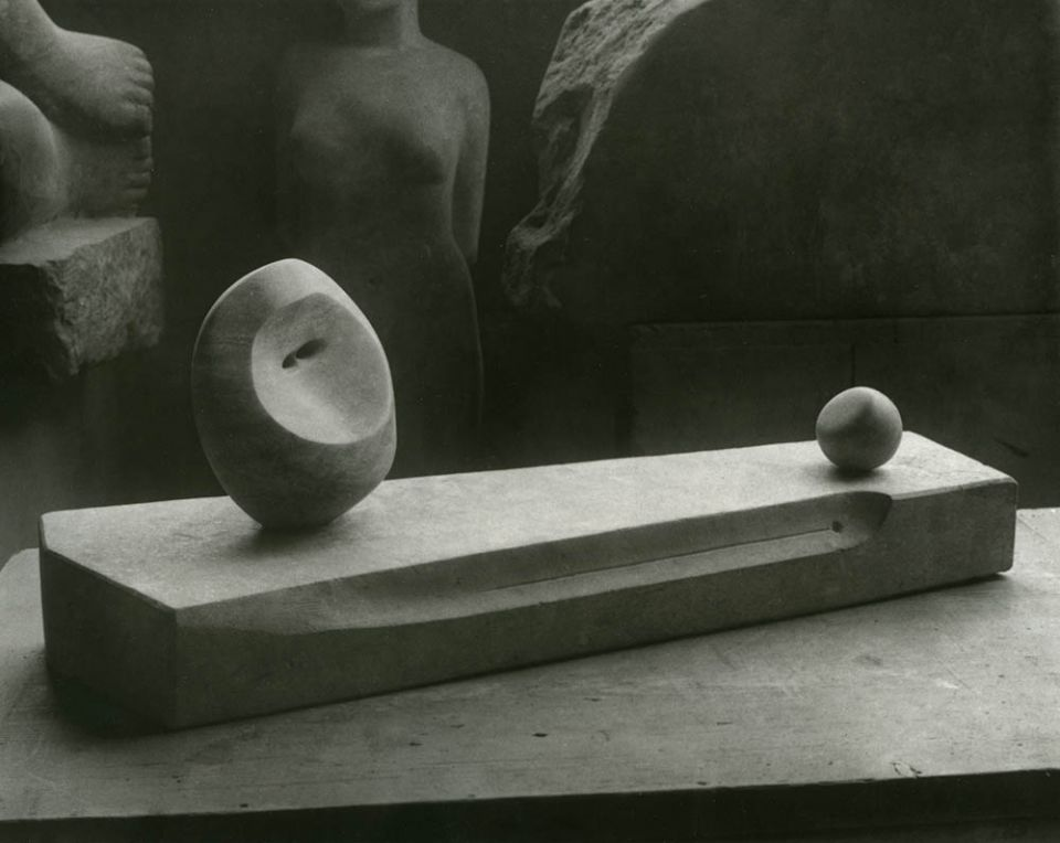 'Head and Ball' 1934 (LH 151) Cumberland alabaster on Hornton stone base, photographed in Moore's studio at 11A Parkhill Road, London.
